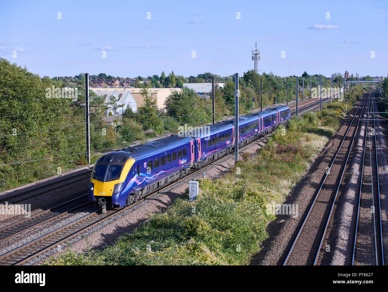 Hull Trains 180 111 froms 1H04 1348 London Kings Cross to Hull service through Werrington Junction on the East Coast Mainline on 24/09/18. - Stock Image