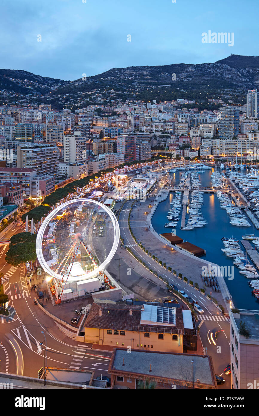 View of Monte Carlo from the Prince Palace, Principality of Monaco - Stock Image