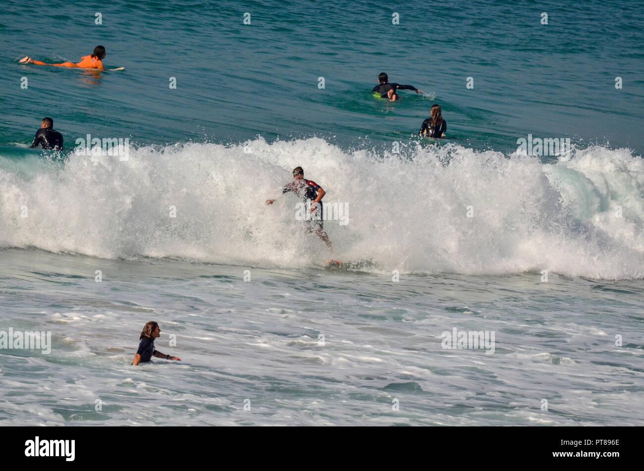 Wave Surfing In The Mediterranean Sea Netanya Israel Stock