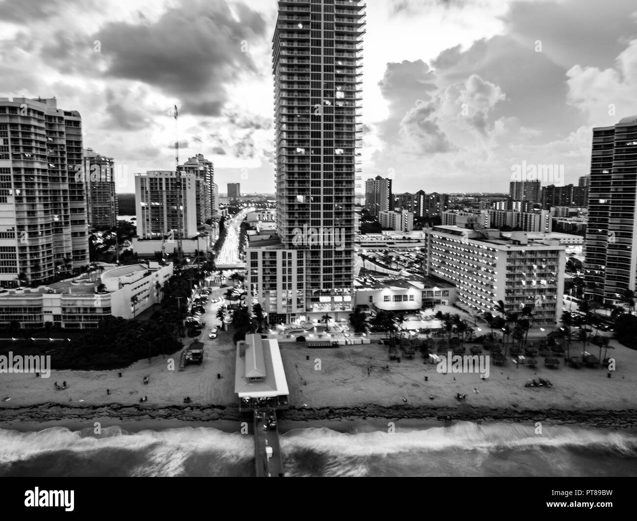 Aerial view of the Miami, Florida, USA as seen from the sea. In Black and White - Stock Image