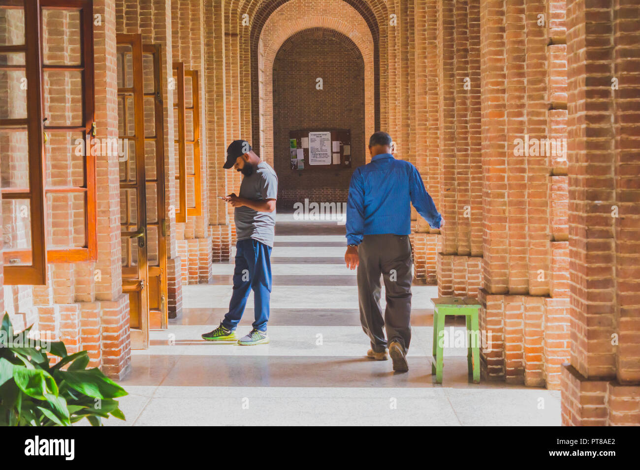 An aisle of a Greco-Roman architecture building with one young bearded man busy with the smartphone and one middle-aged man strolling down the aisle i - Stock Image
