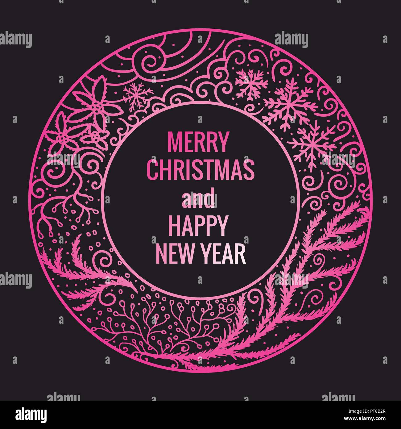 Card Merry Christmas and Happy New Year. Round frame hand drawn pink color ornaments. Vector illustration isolated on dark background. - Stock Image