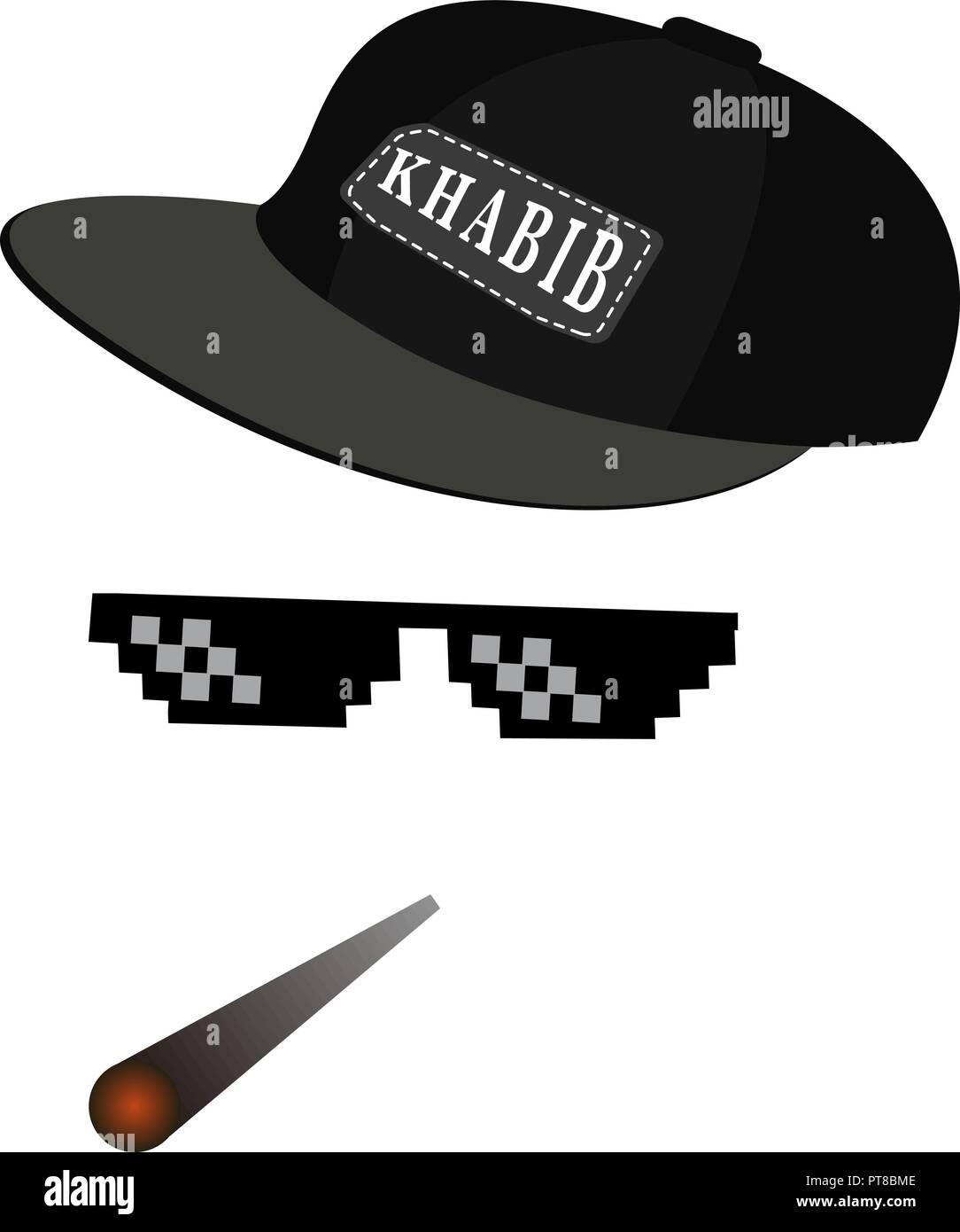 b357a549b5a glasses pixel vector icon. Pixel Art Glasses of Thug Life Meme and smoke  with cap Habib Nurmagomedov. Vector eps 10
