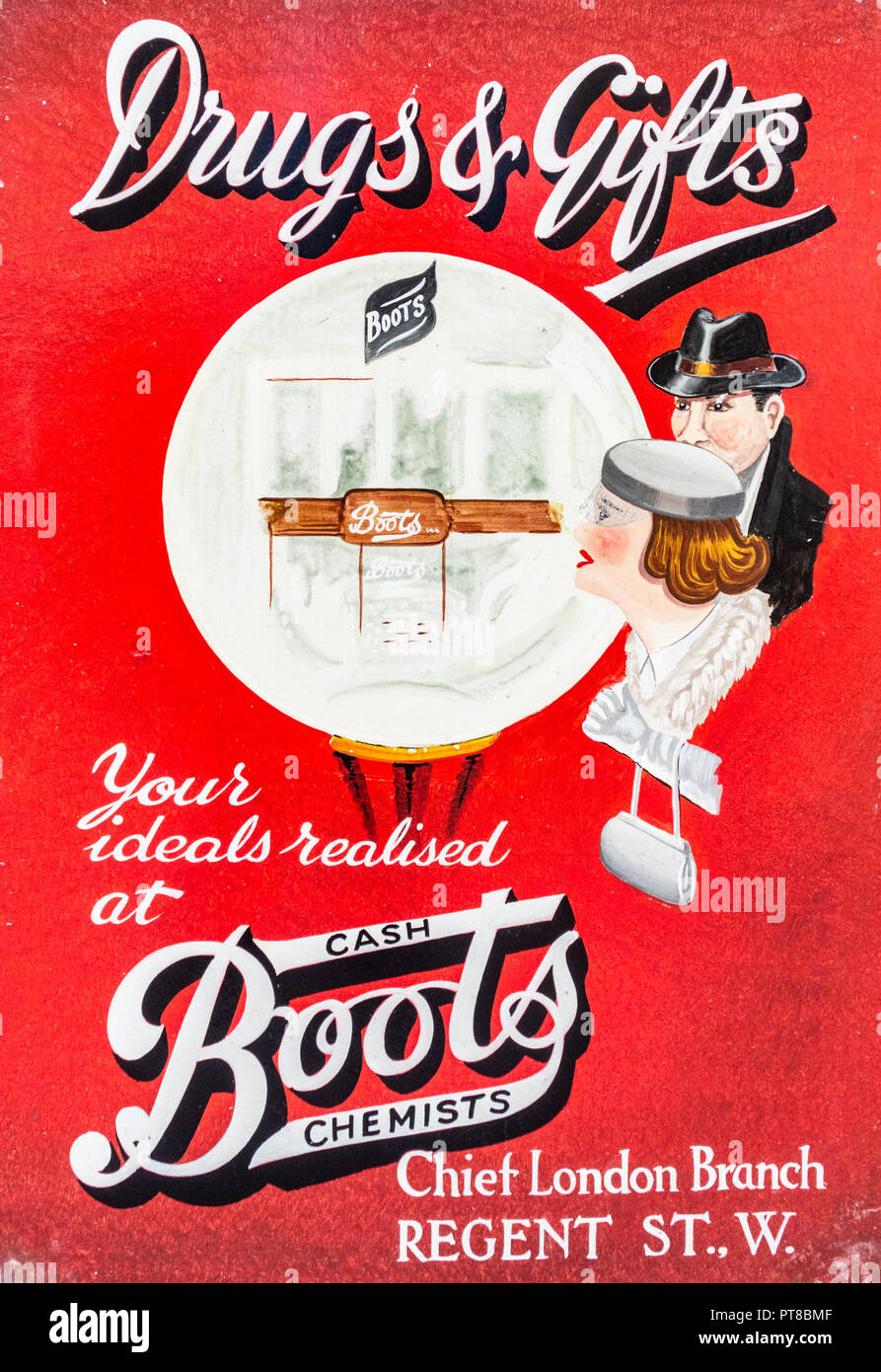 Vintage Boots the chemist poster. uk - Stock Image