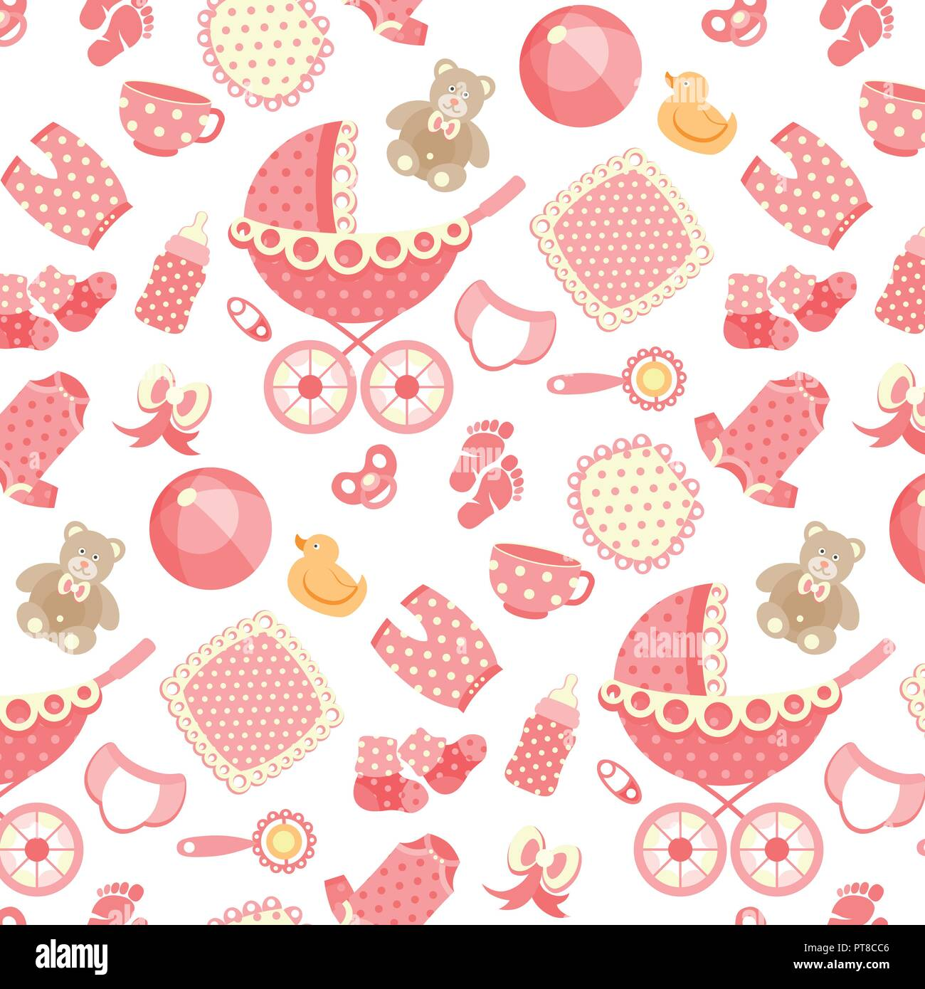 f1cfdc47d Vector seamless pattern with baby objects. Newborn clothes and ...