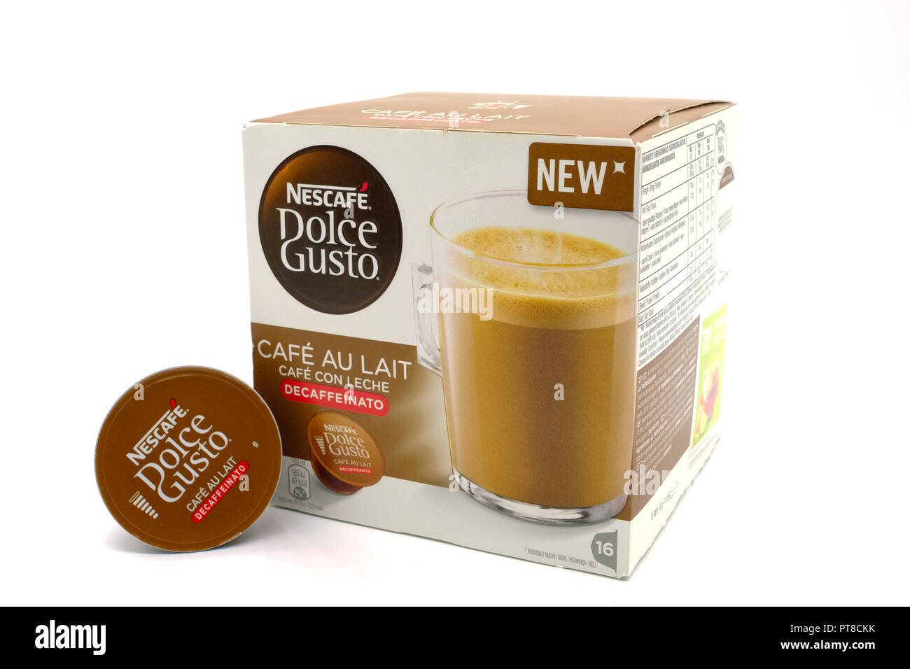 Largs, Scotland, UK - October 04, 2018: Nescafe Dolce Gusto Cafe au Lait Decaf Coffee in recyclable packaging. in line with UK current recycling initi - Stock Image