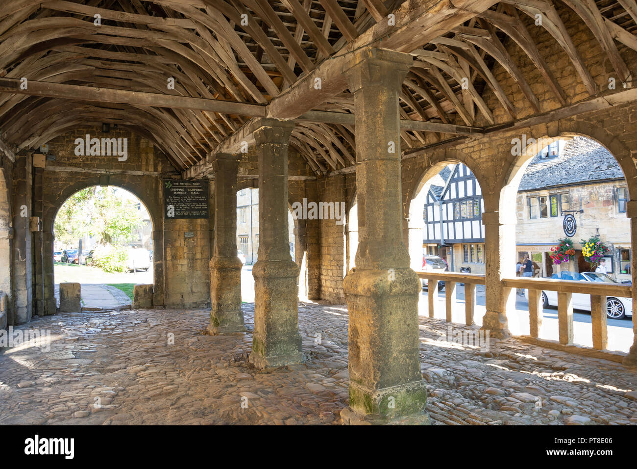 Interior of medieval Market Hall, High Street, Chipping Campden, Gloucestershire, England, United Kingdom - Stock Image