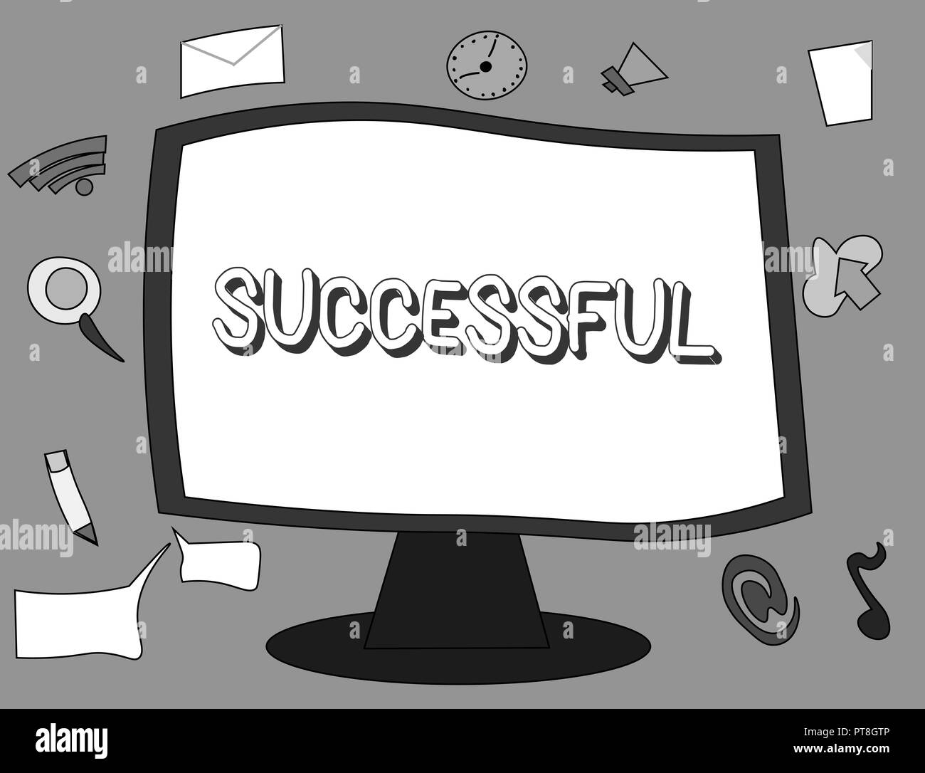 Word writing text Successful. Business concept for Accomplishing a desired aim or result Achieved fame Social status. - Stock Image