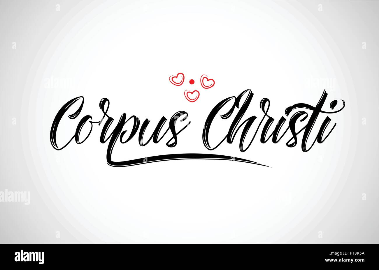 corpus christi  city text design with red heart typographic icon design suitable for touristic promotion Stock Vector
