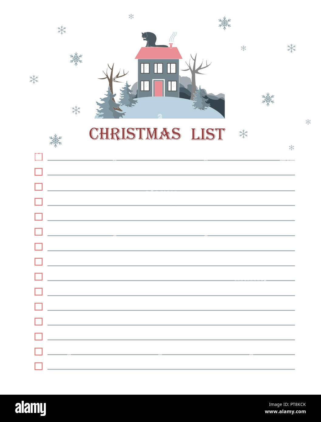 template for christmas to do list with cartoon flat winter landscape