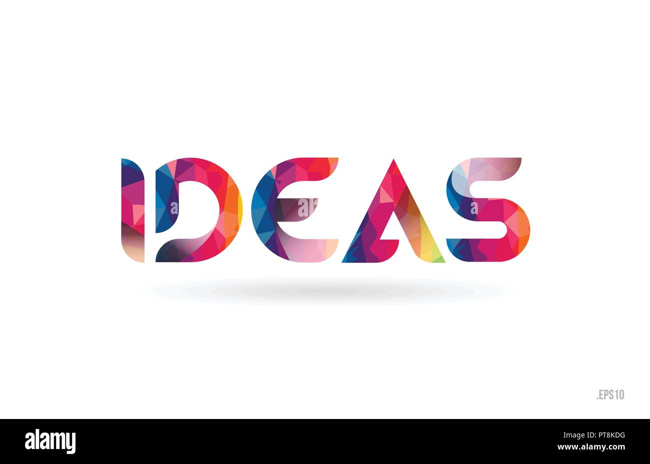 Ideas Colored Rainbow Word Text Suitable For Card Brochure