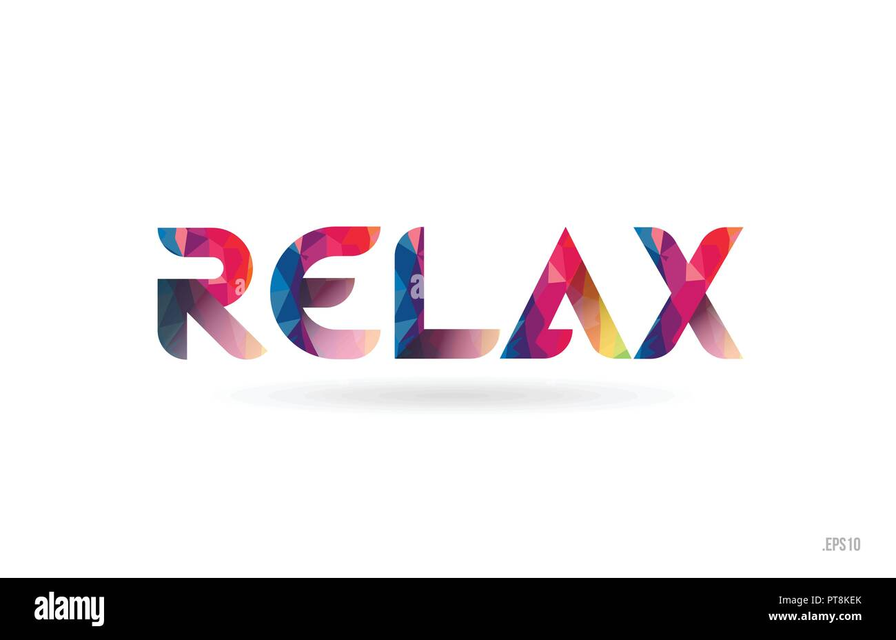 relax colored rainbow word text suitable for card brochure or