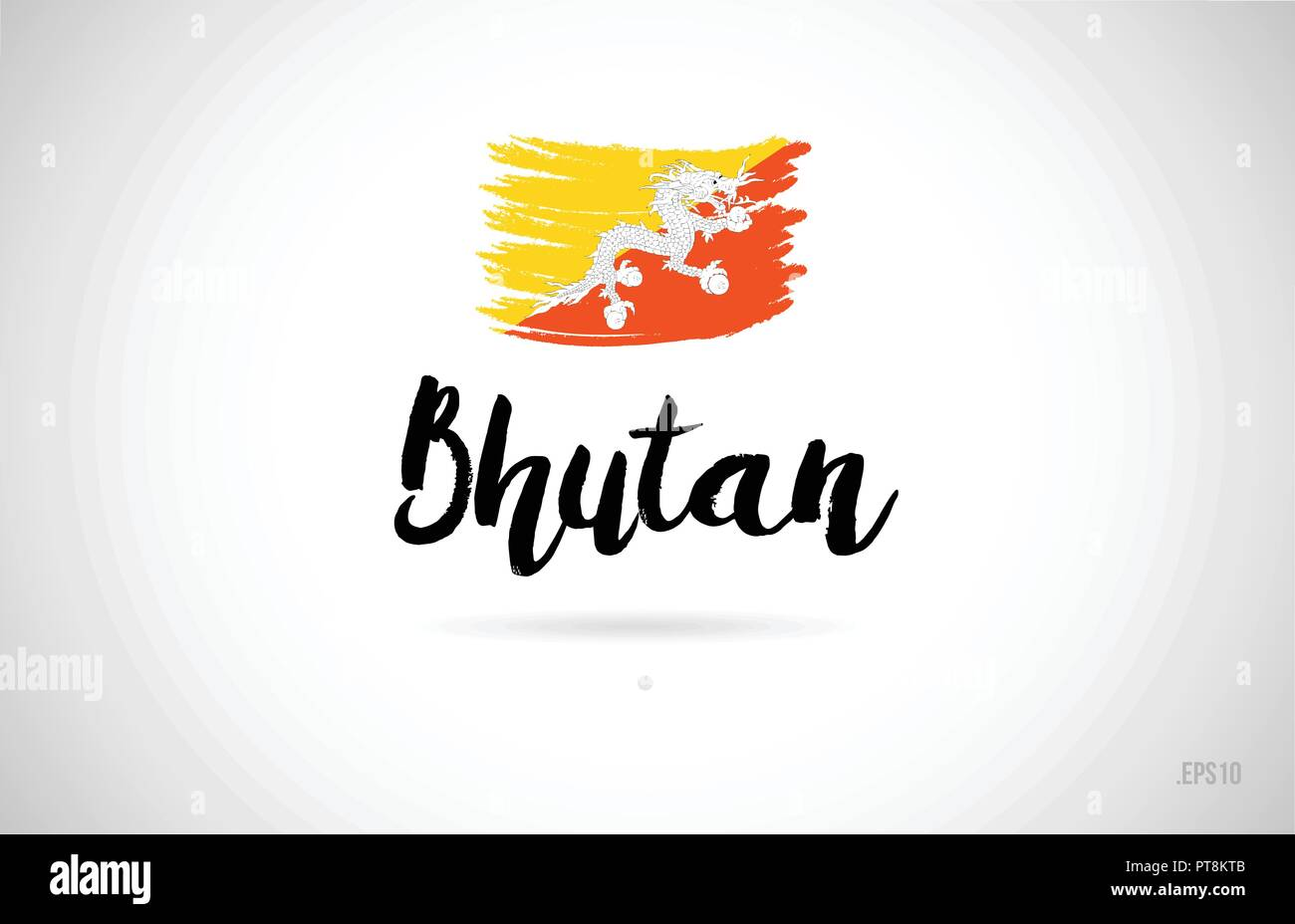 bhutan country flag concept with grunge design suitable for a logo icon design - Stock Vector