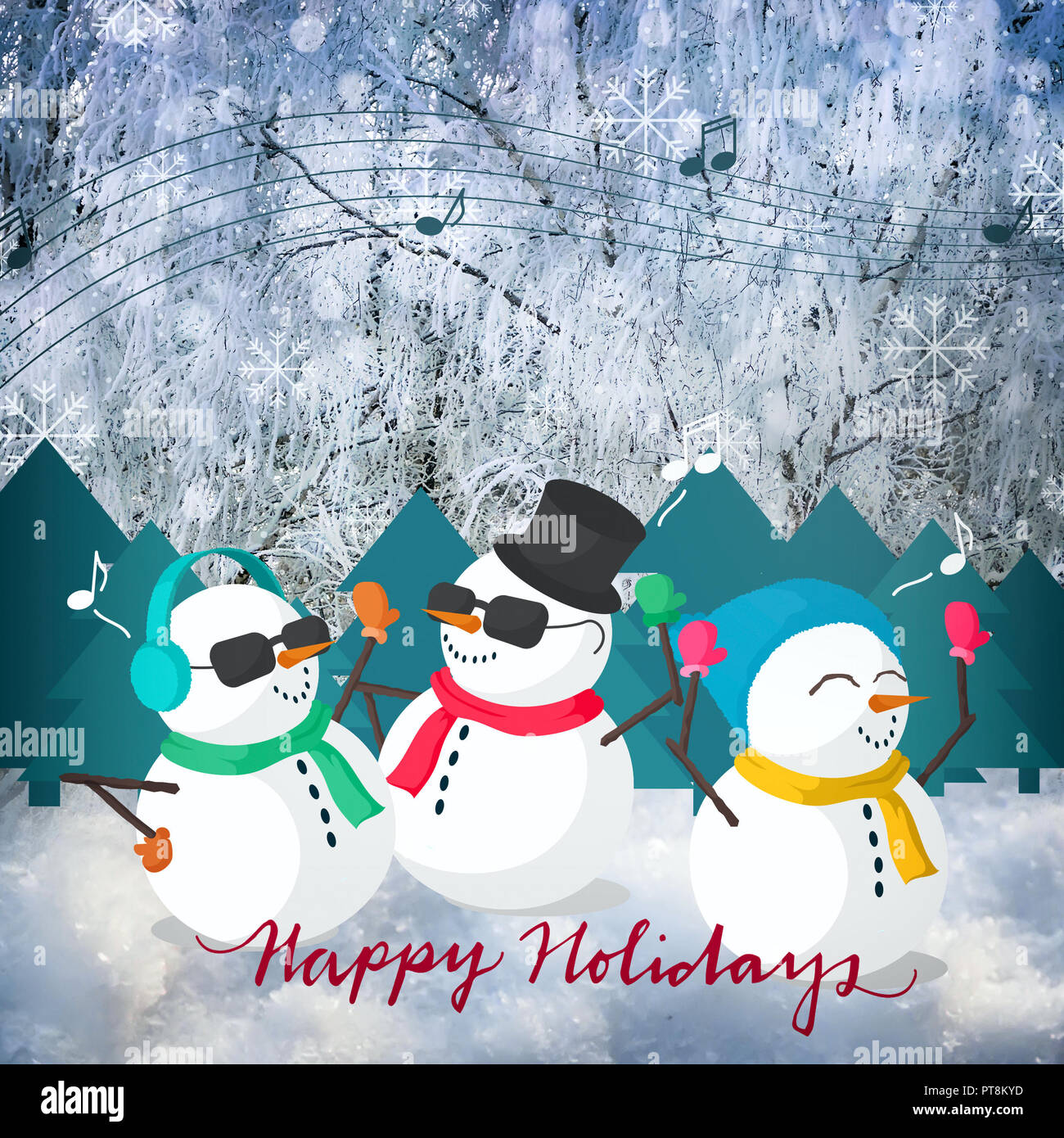Christmas Greeting Card With The Image Of A Snowman Stock Photo