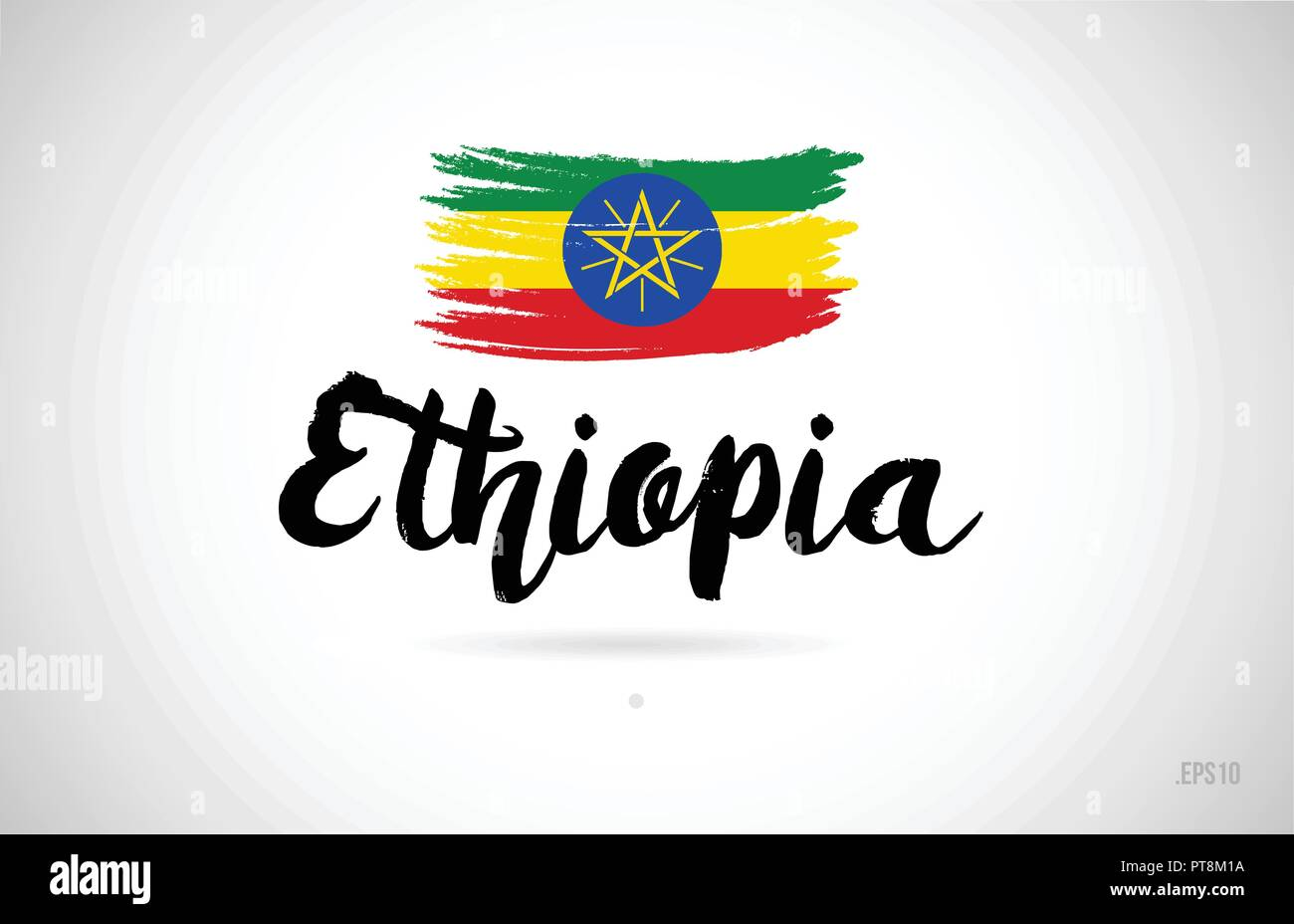 ethiopia country flag concept with grunge design suitable for a logo icon design - Stock Vector