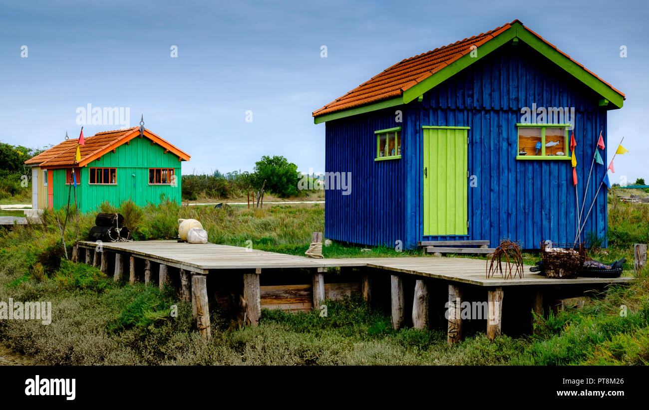 Oyster fishermen cottages at the maritime museum of Fort Royer near Boyardville on the Ile d'Oleron, France. - Stock Image