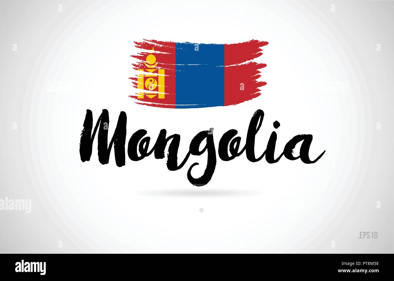 mongolia country flag concept with grunge design suitable for a logo icon design - Stock Vector