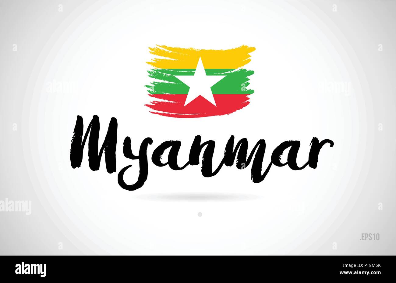 myanmar country flag concept with grunge design suitable for a logo icon design - Stock Vector