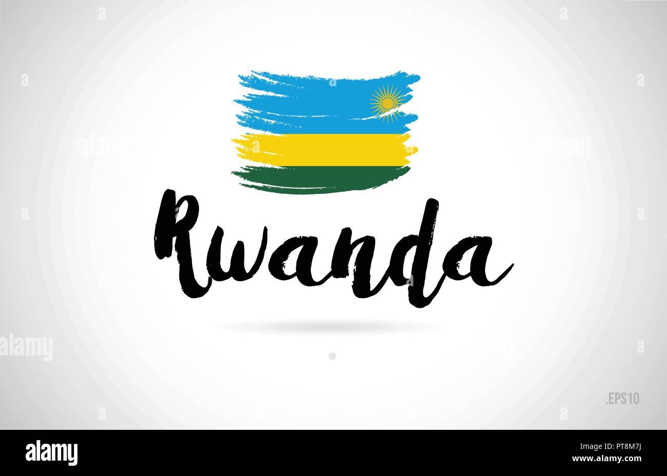 rwanda country flag concept with grunge design suitable for a logo icon design - Stock Vector