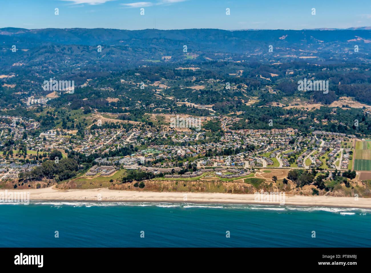 The aerial view of California coast with the city of Aptos, close to the city of Santa Cruz. - Stock Image