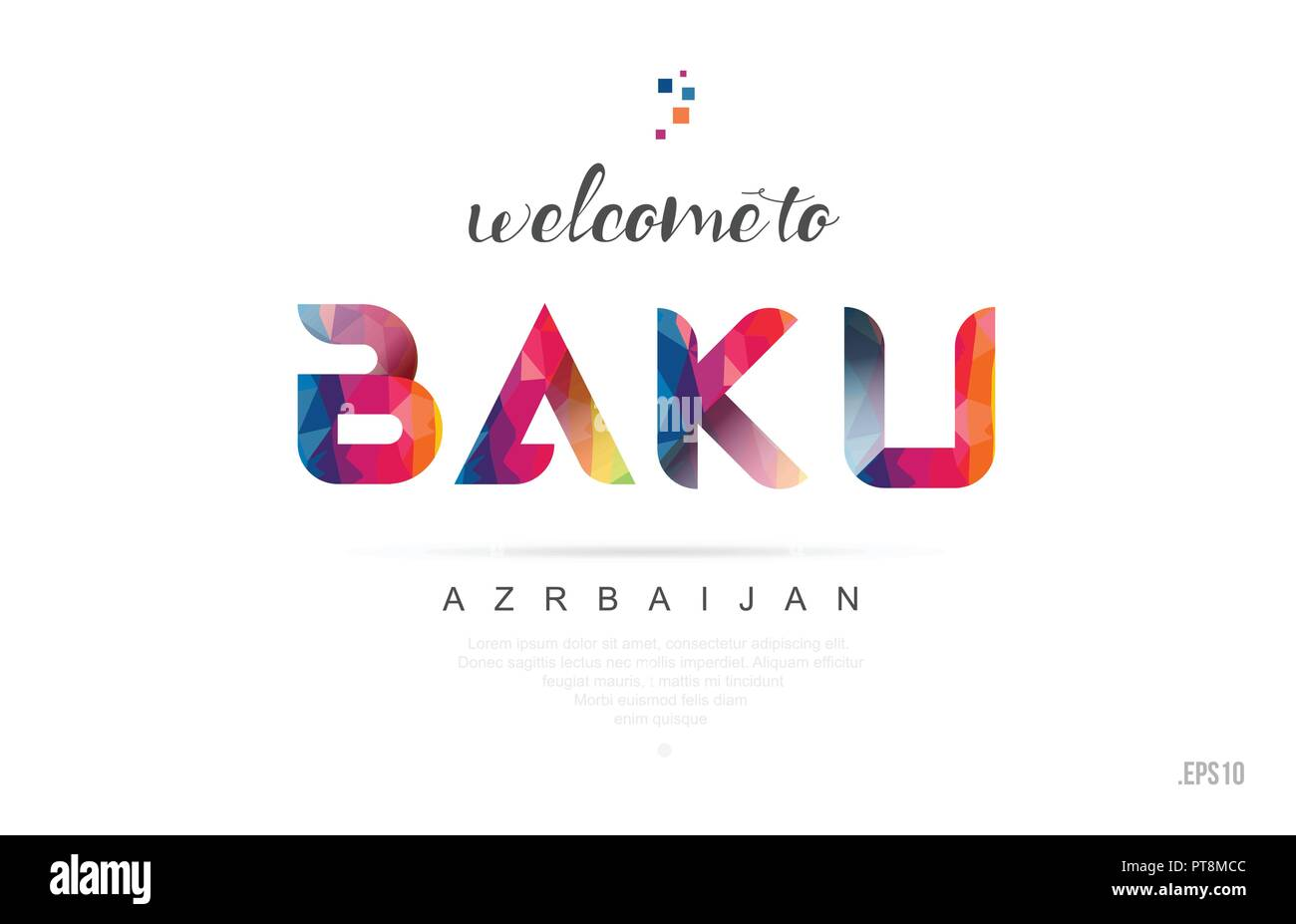 Welcome to baku azerbaijan card and letter design in colorful rainbow color and typographic icon design - Stock Vector