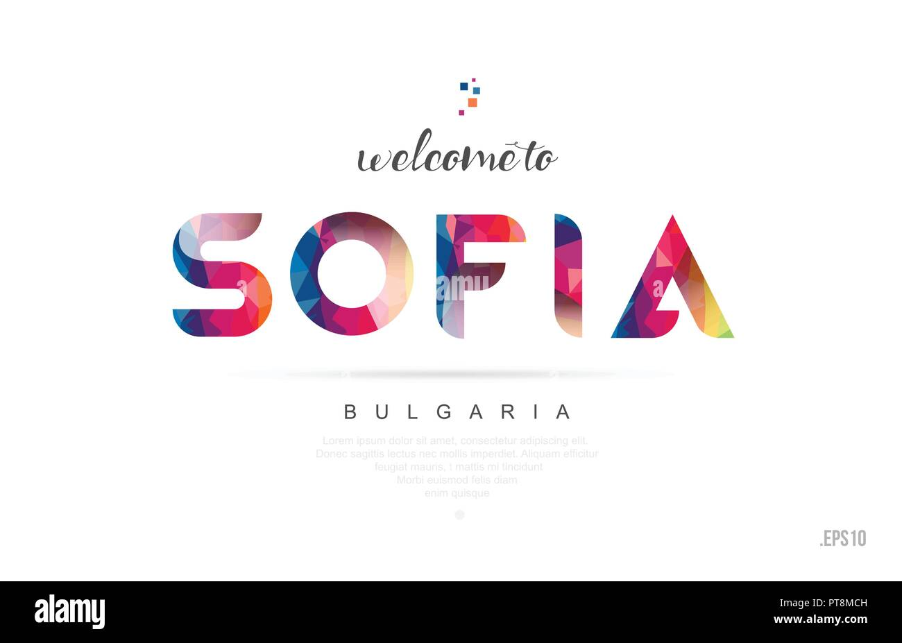Welcome to sofia bulgaria card and letter design in colorful rainbow color and typographic icon design Stock Vector