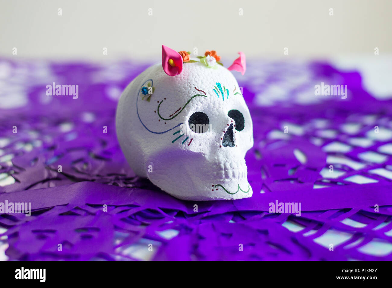 Day Of The Dead Sugar Skull Calavera White Color With Flowers On
