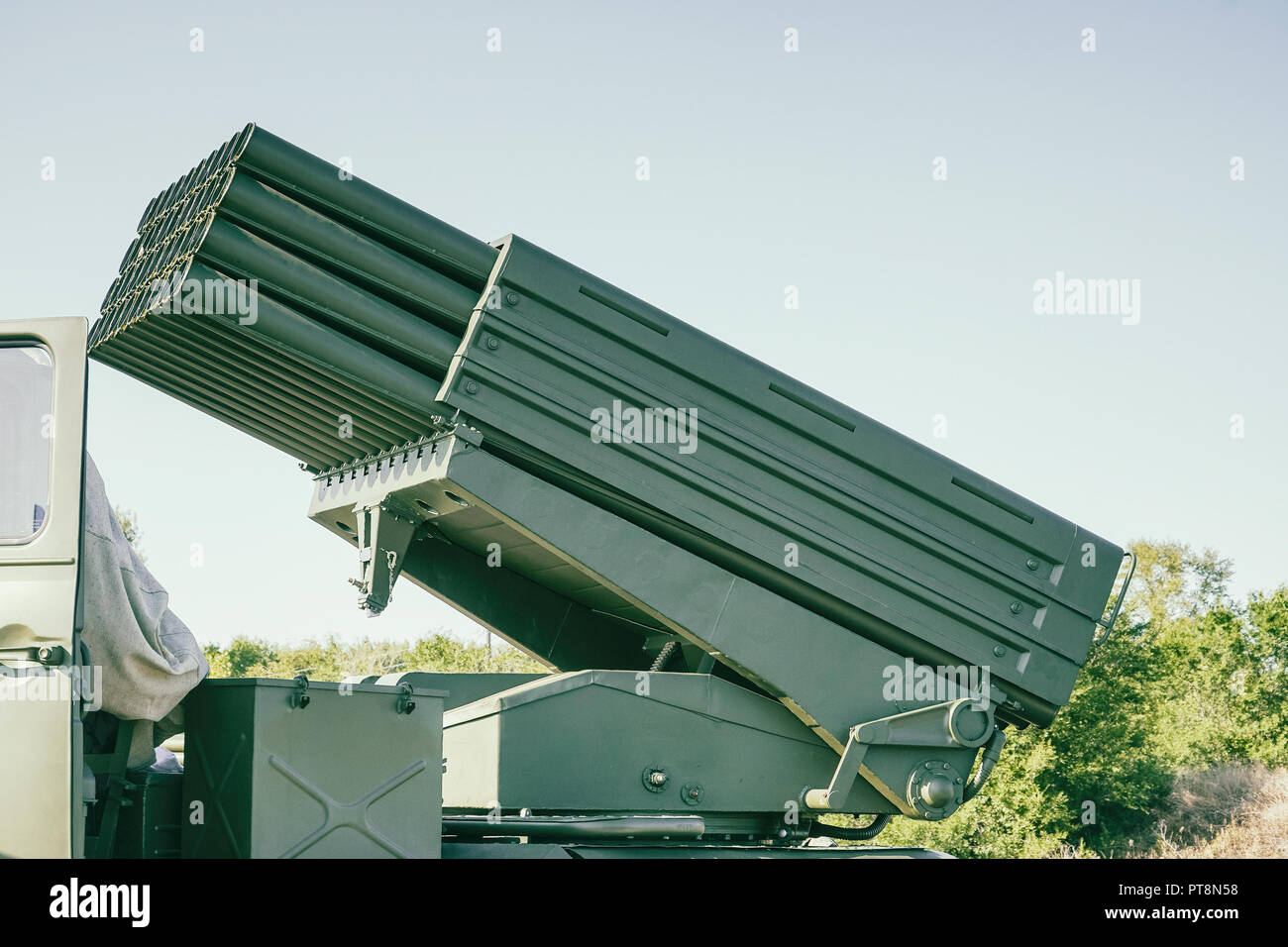 Multiple launch rocket system - Stock Image