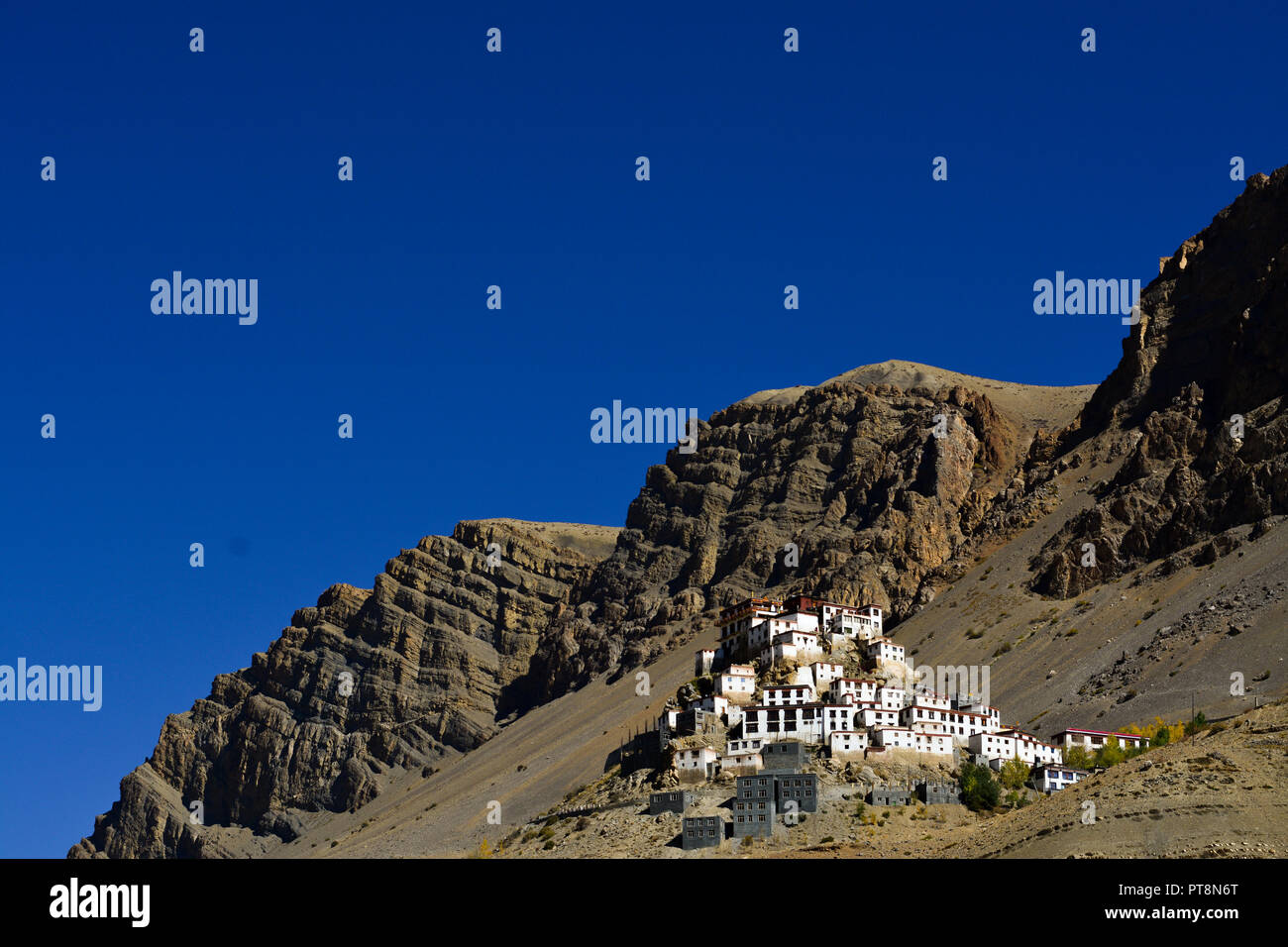 Key Monastery in Spiti Valley, Himachal Pradesh, India. It is the highest monastery in the Spiti region. - Stock Image