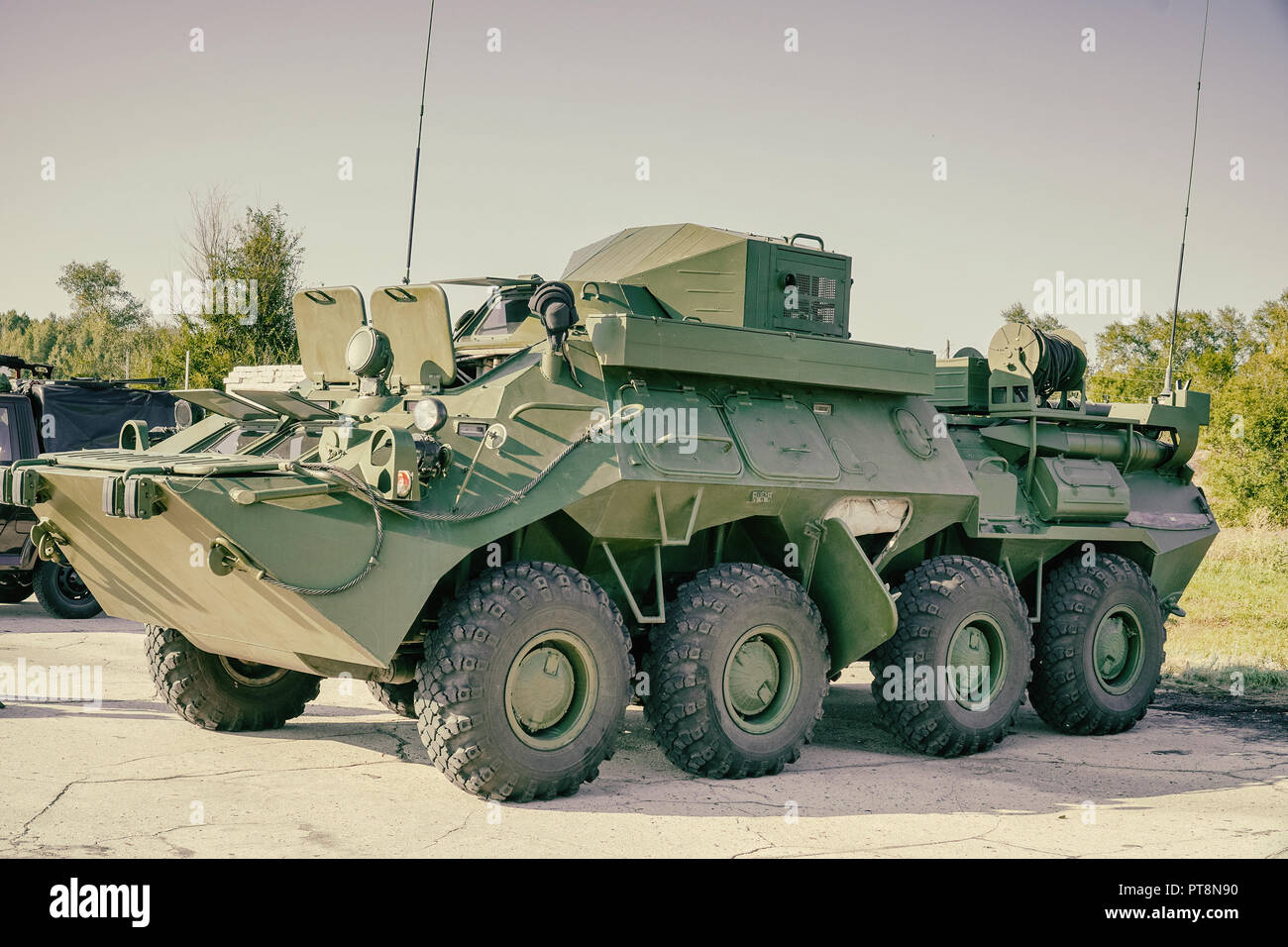 Soviet armored personnel carrier service - Stock Image