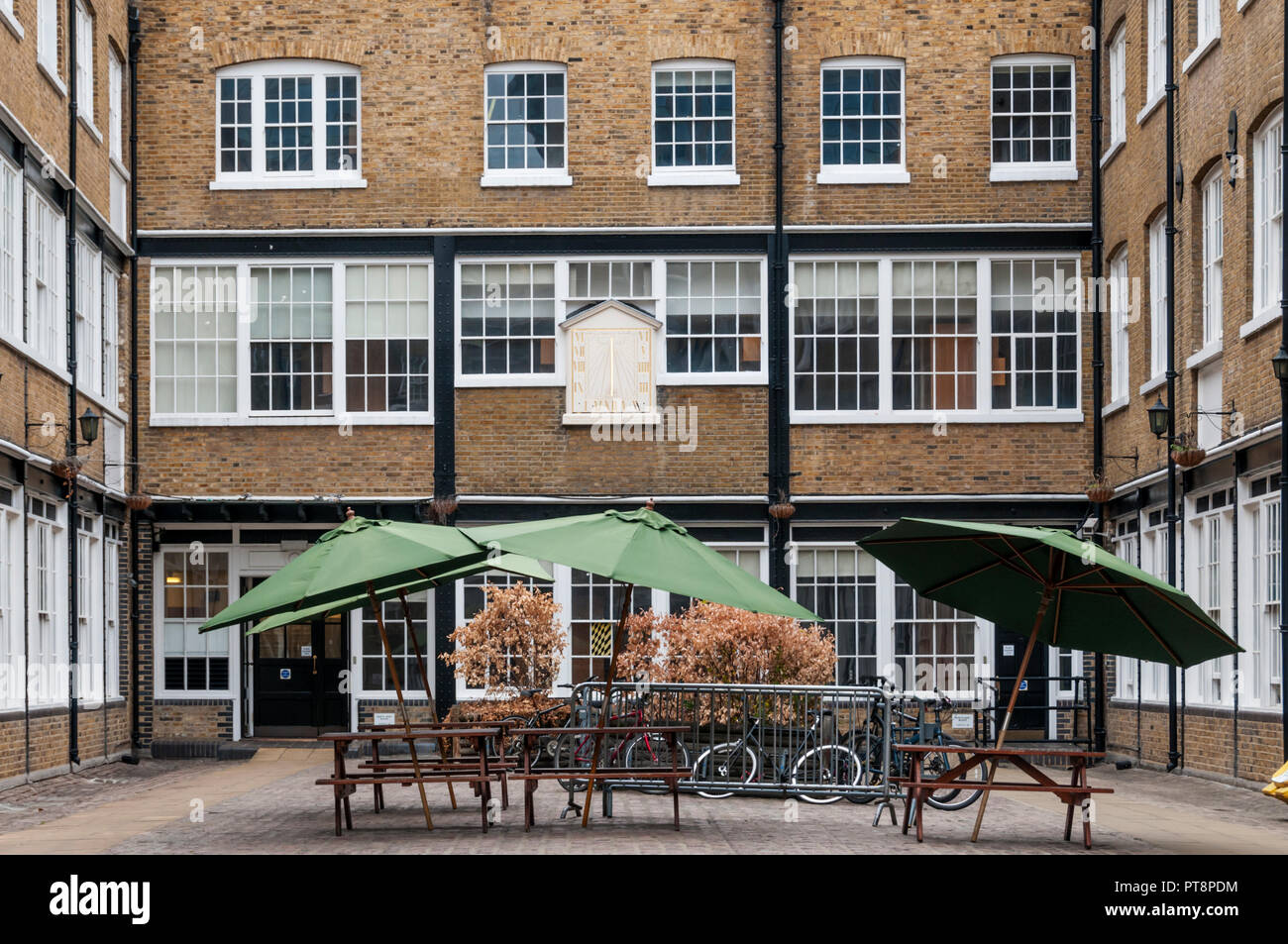 Sundial Court, originally part of Whitbread's first brewery, now provides halls of residence for the Guildhall School of Music and Drama. - Stock Image