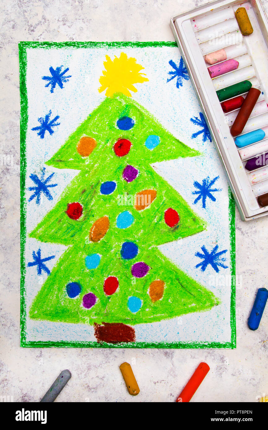 Colorful Christmas Ornaments Drawings.Colorful Hand Drawing Beautiful Christmas Tree With