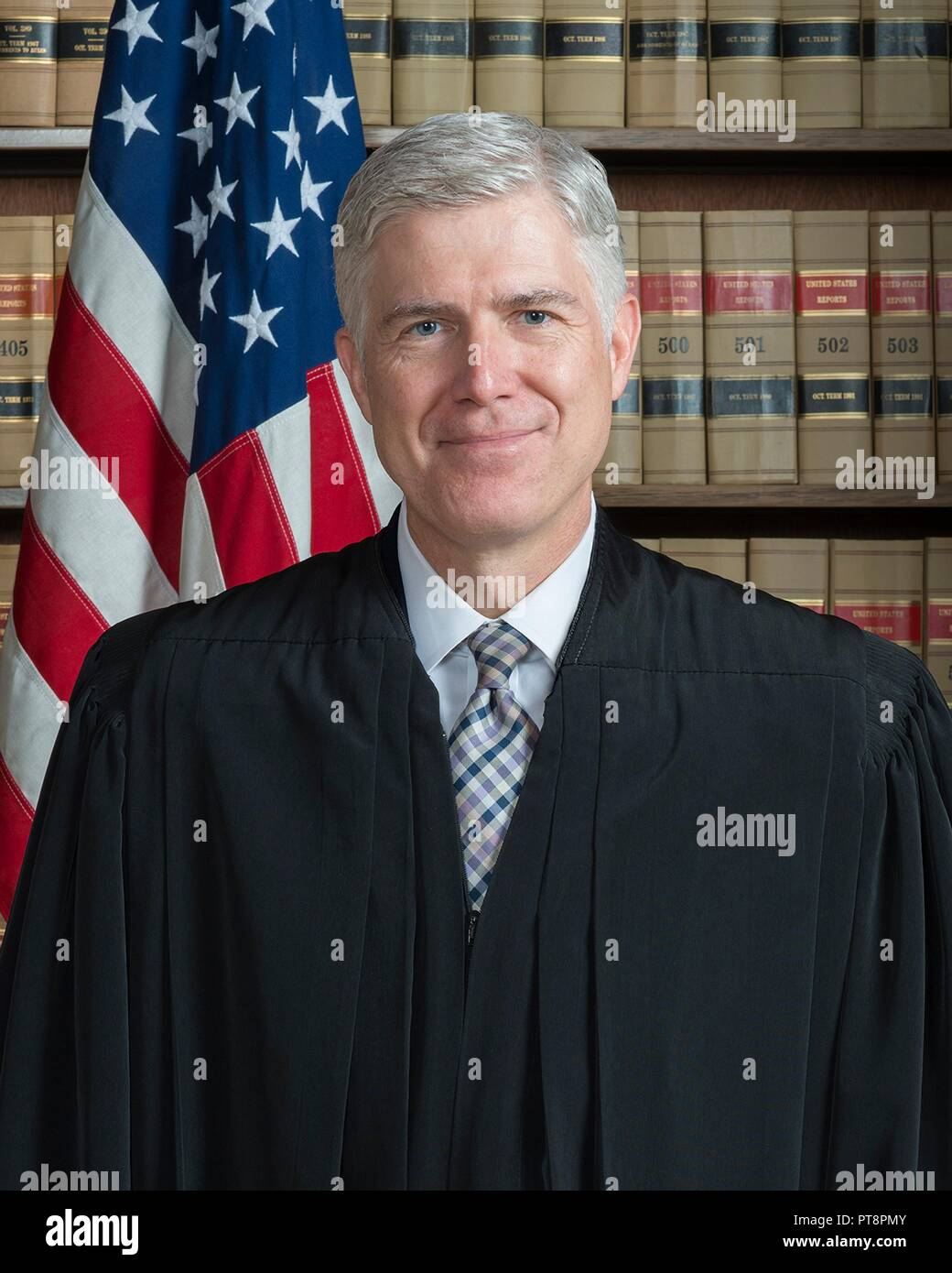 Official portrait of Associate Justice Neil Gorsuch in his robes at the U.S. Supreme Court Building May 25, 2017 in Washington, DC. - Stock Image