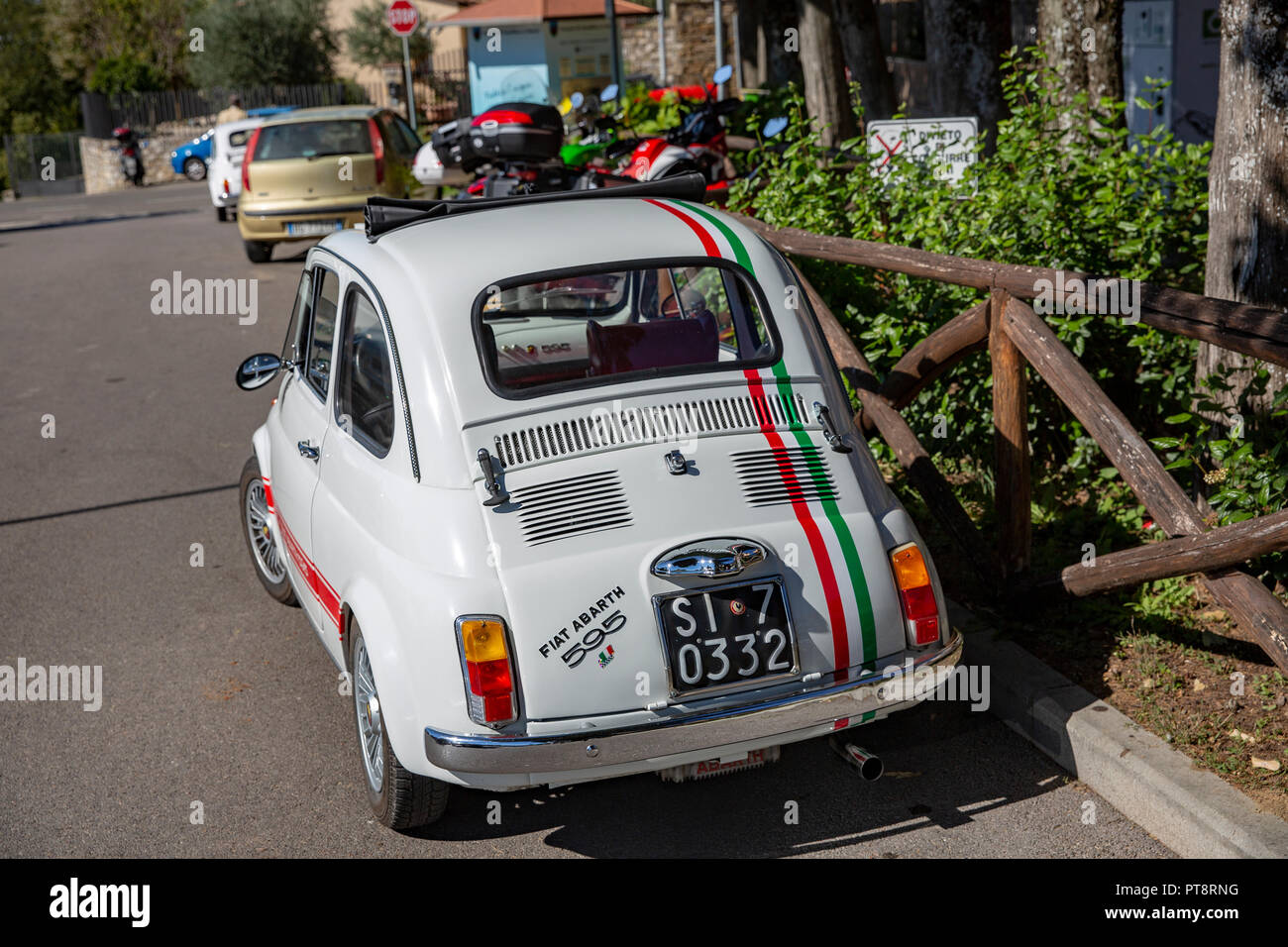Fiat abarth 595 classic car in Tuscany,Italy - Stock Image