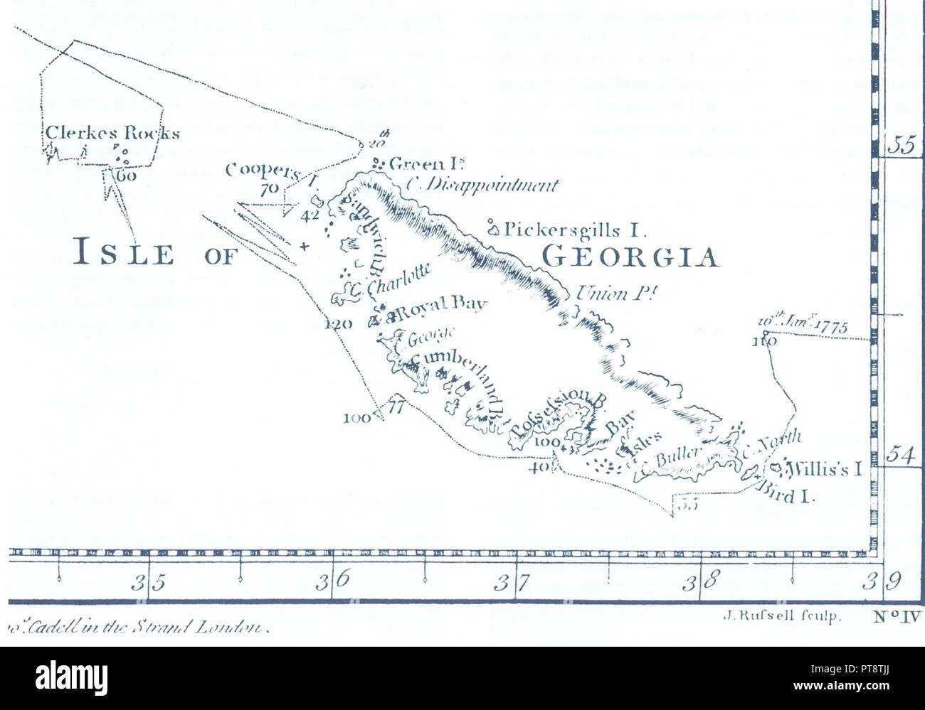 James Cook\'s 1777 South-Up map of South Georgia Stock Photo ...
