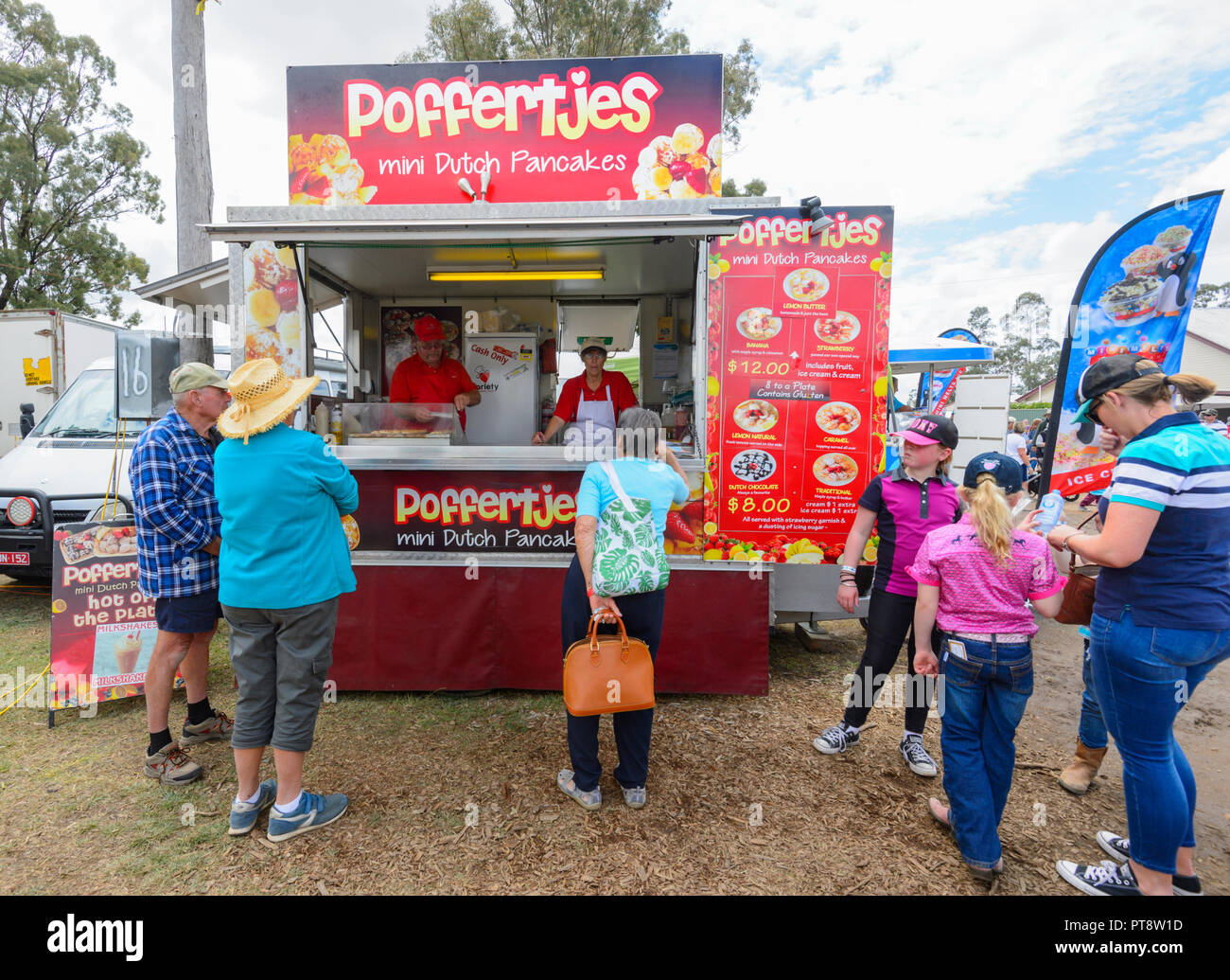Food stall selling Poffertjes or Dutch pancakes, Australian Camp Oven Festival 2018, Millmerran, Southern Queensland, QLD, Australia Stock Photo