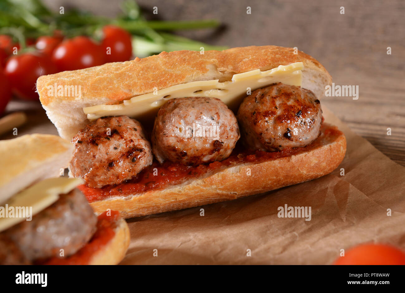Sandwich with meat balls, cheese and sauce Stock Photo