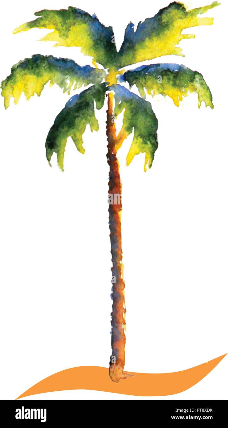 Water color Palm tree vector tropic picture - Stock Vector
