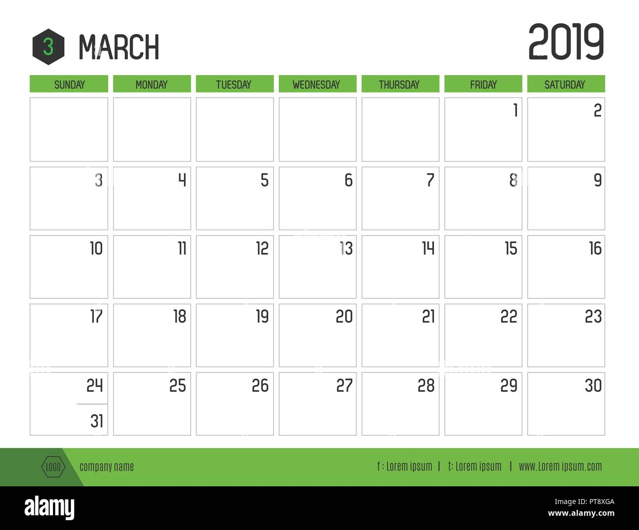 Vector of modern green calendar 2019 ( March ) in simple clean table style.full size 21 x 16 cm; Week start on Sunday Stock Vector