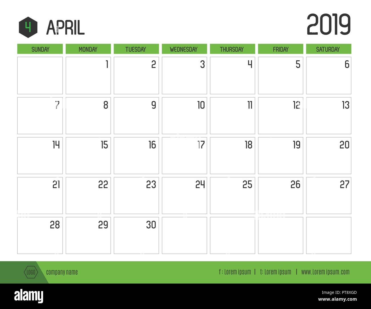 Vector of modern green calendar 2019 ( April ) in simple clean table