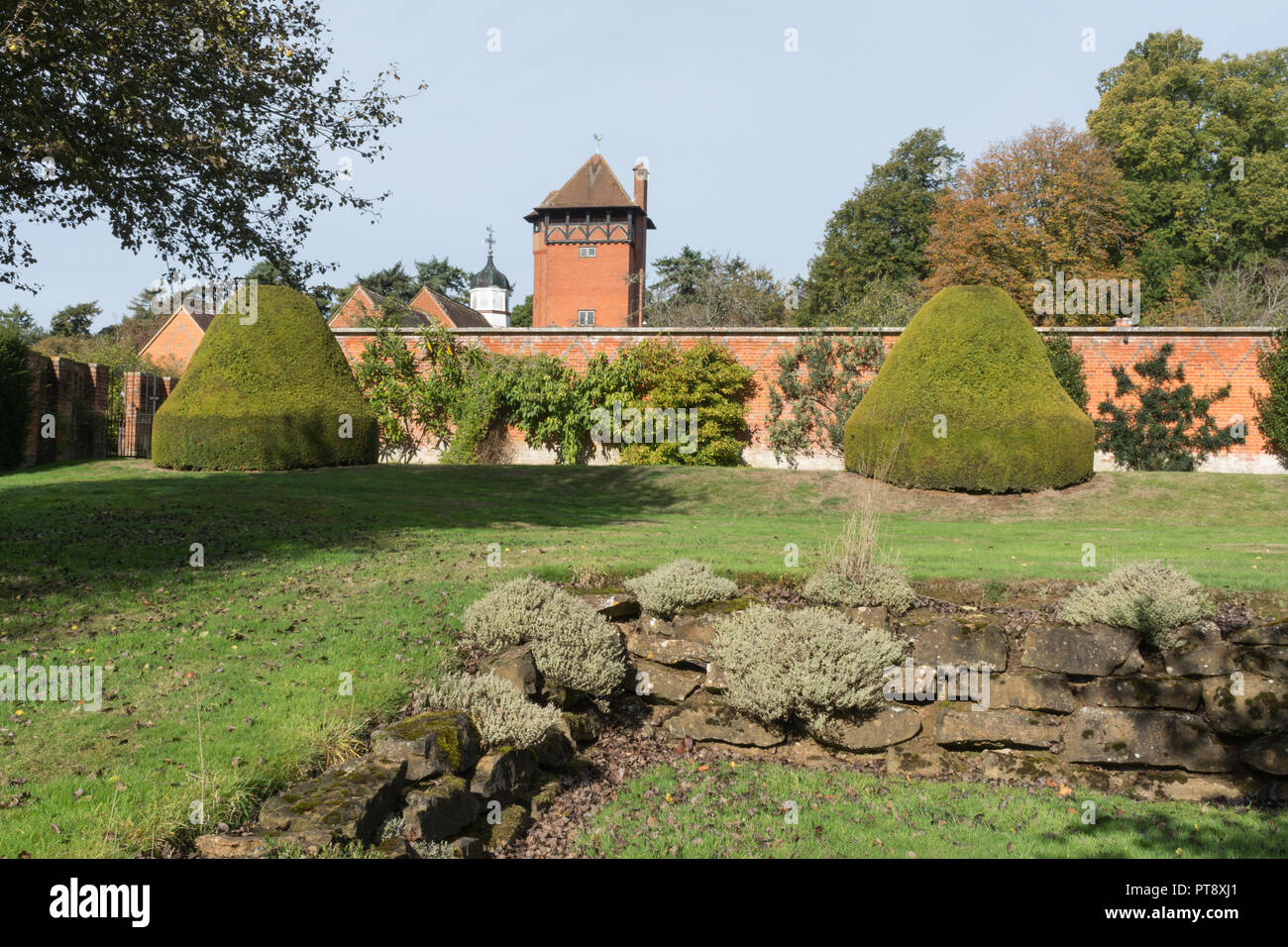 The water tower at Tylney Hall and gardens, a grand Victorian mansion and now an upscale country hotel, near Rotherwick in Hampshire, UK - Stock Image