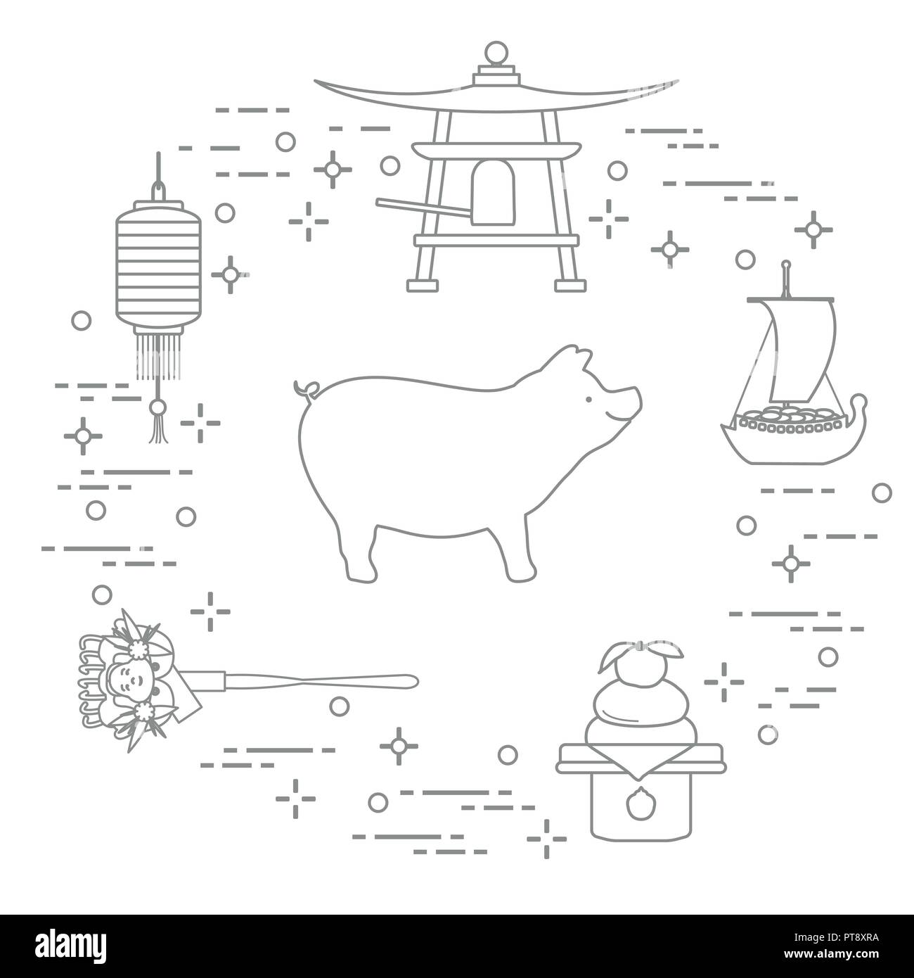 happy new year 2019 card new year symbols in japan boar lantern bell mochi orange treasure ship festive traditions of different countries