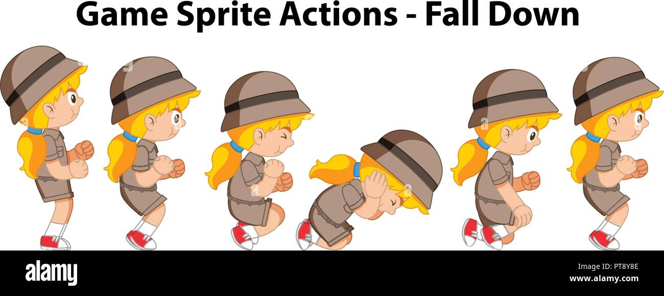 Game sprite actions fall down girl illustration Stock Vector