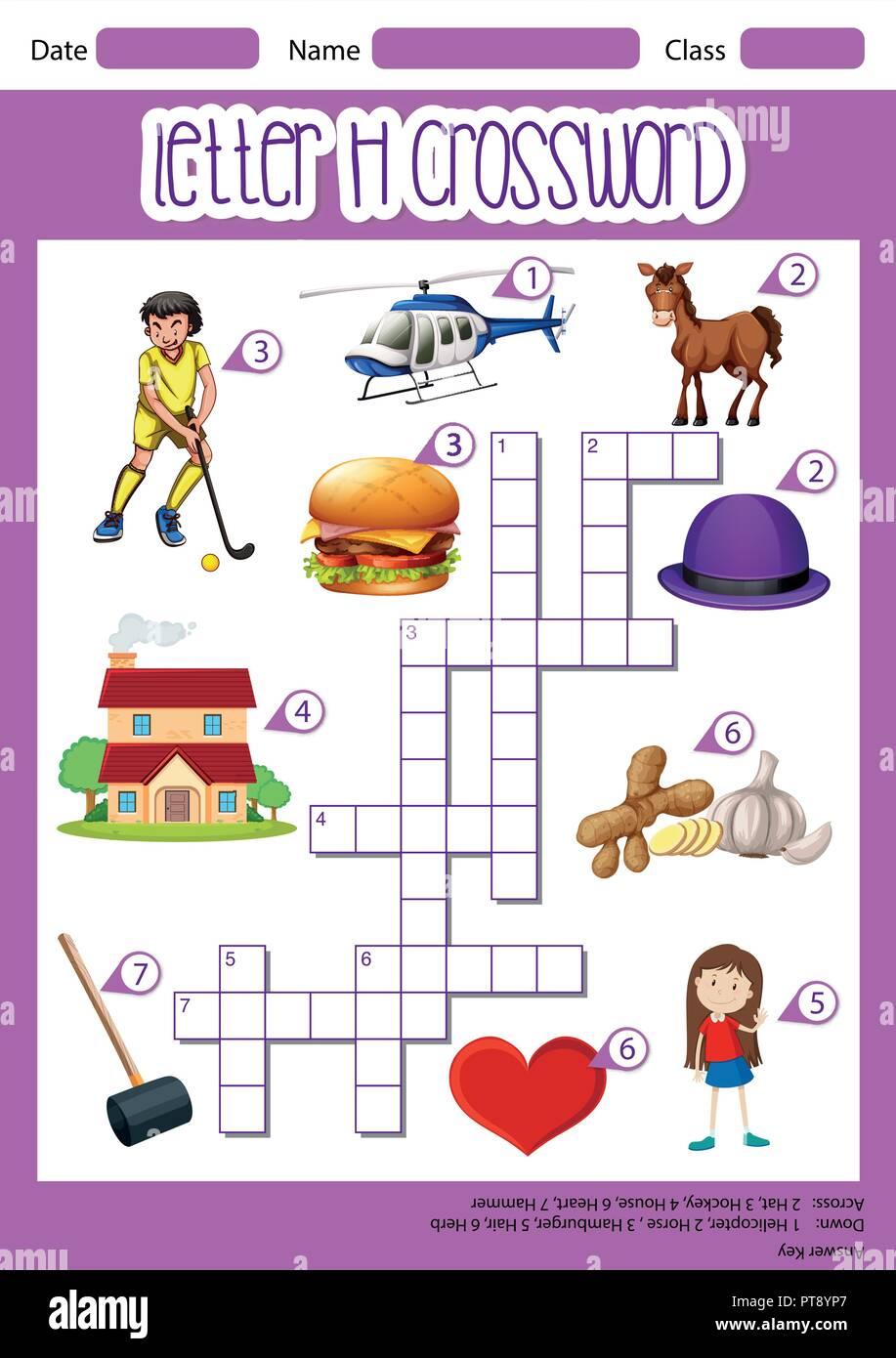 letter h crossword template illustration stock vector art