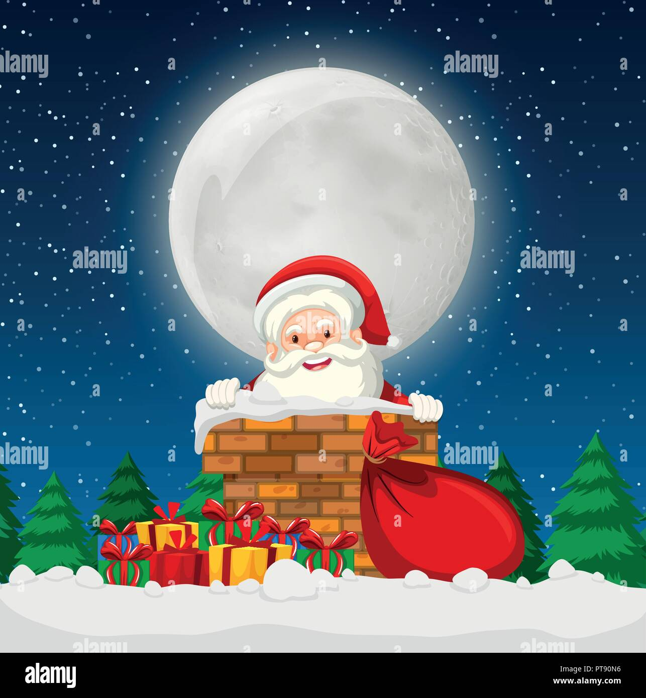 Santa in a chimney scene illustration - Stock Vector