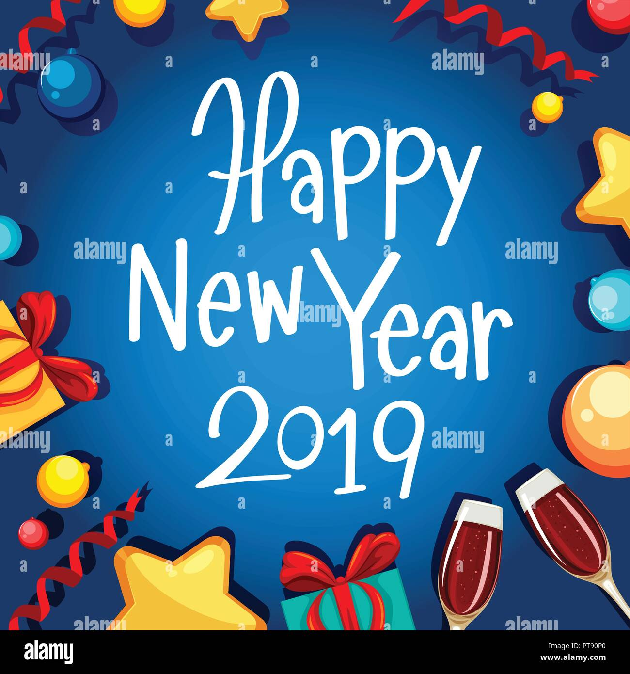 happy new year 2019 card illustration