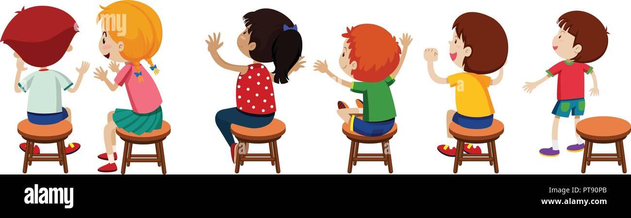 Children sitting on chairs  illustration - Stock Vector