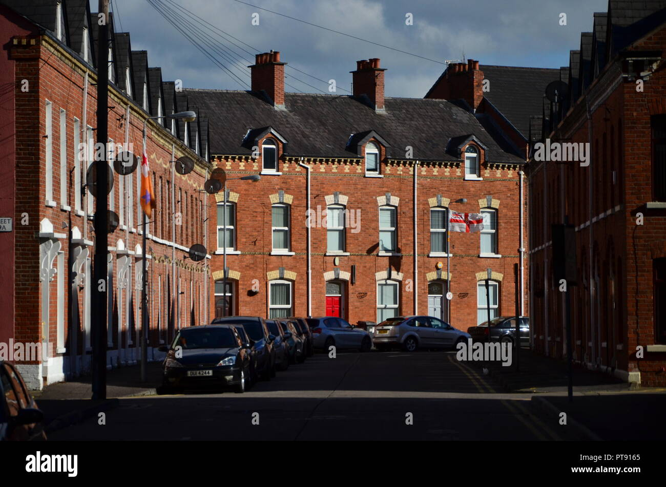 Belfast city skyline, town houses - Stock Image