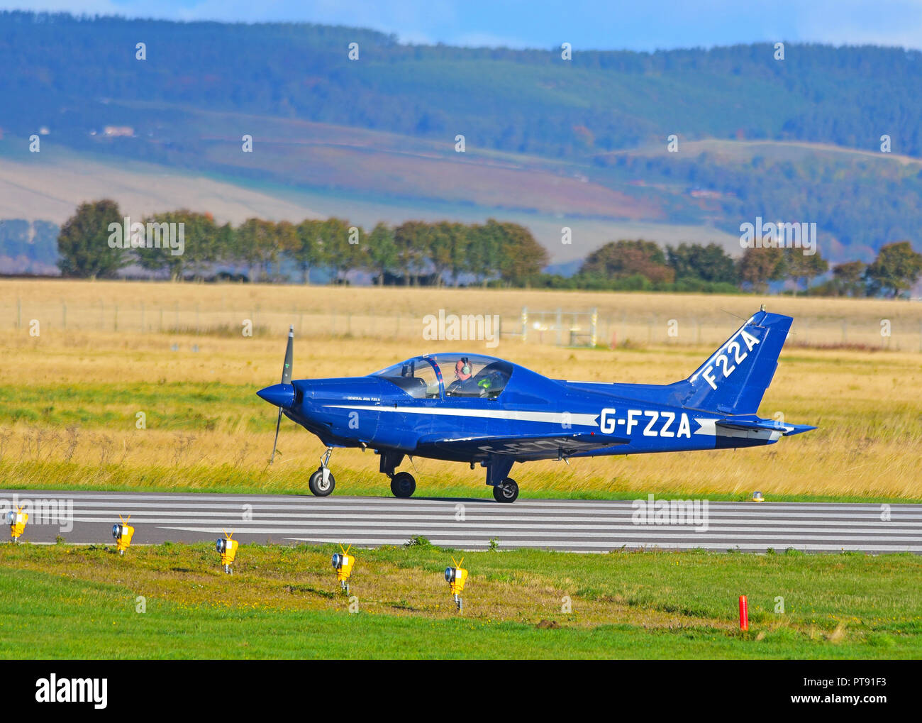 A general Avia F22A on the runway at Inverness Airport having flown in from Welshpool airfield in Montgomeryshire, Wales. Stock Photo