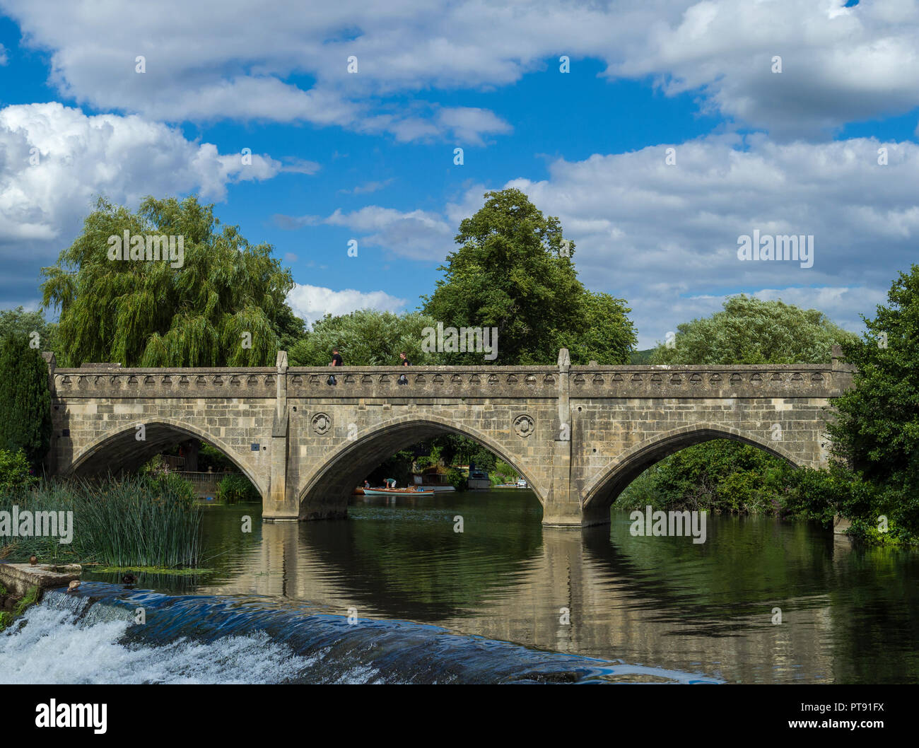 Batheaston toll bridge crossing the river Avon at Bathampton, Bath, Somerset, England, UK Stock Photo